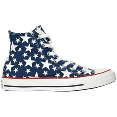CONVERSE Chuck Taylor Hi Ox Stars Canvas Sneakers - Blue/White (155 CAD) ❤ liked on Polyvore featuring shoes, sneakers, lullabies, white high tops, converse shoes, high top shoes, white high top shoes and white sneakers