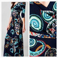 Navy & Teal Splash of Midnight Faux wrap maxi dress. Order at Shannasthreads.com