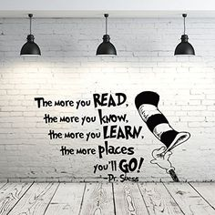 Dr Seuss Wall Decal Quote Vinyl Sticker Decals Quotes The More That You Read Wall Decal Quote Wall Decor Nursery Bedroom Baby Room ZX239 ** Visit the image link more details.