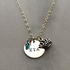 Zeta Tau Alpha Sorority Charm Necklace  ZTA.  by SocietySilver