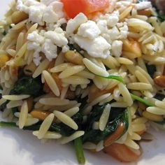"""Elegant Orzo with Wilted Spinach and Pine Nuts 