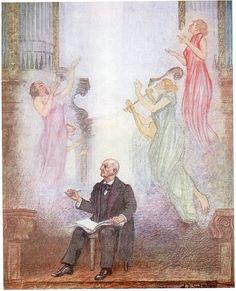 Anton Bruckner (1824-1896), crayon drawing (1927), by Alexander Demetrius Goltz (1857-1944).