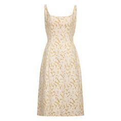 9fb21dba449f 1950s Rappi Cream and Gold Floral Brocade Dress Cream And Gold