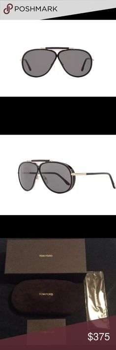 Tom Ford aviator sunglasses Tom Ford Frame Color: Black/Gold, Lens Color: Dark Gray Frame Material: Metal/Plastic Size: 65-5-135 Made In Italy Includes Original Branded Case And Cloth Italy Metal/Plastic The Tom Ford 509 Cedric Sunglasses Feature A Modified Aviator Frame Shape With A Minimal Bridge Reveal. Constructed Of Metal And Plastic These Sunglasses Are Bold And Stylish. Tom Ford Eyewear Are Some Of The Most Instantly Recognizable In The World. Providing 100% UV Protection From The…