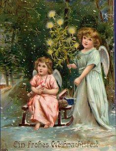WEIHNACHTEN ENGEL im WALD CHRISTBAUM LITHO 1908 ERH II Rand beschnitten !!! | eBay