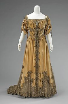Evening dress Design House: Attributed to House of Worth  Designer: Attributed to Jean-Philippe Worth  Date: 1908–10 Culture: French Medium: silk, metal Accession Number: 2009.300.2733
