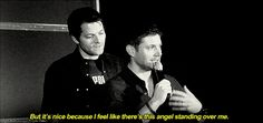 This one is a really good example of difference between Jared/Misha and Jensen/Misha. Description from supermishamiga.tumblr.com. I searched for this on bing.com/images