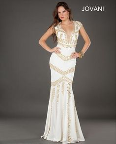 A unique gold and white plunge neck gown from Jovani's Spring 2013 Collection! Style number 74108