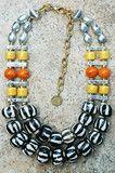 Exotic Zebra Print, Orange, Yellow and Silver Artisan Necklace