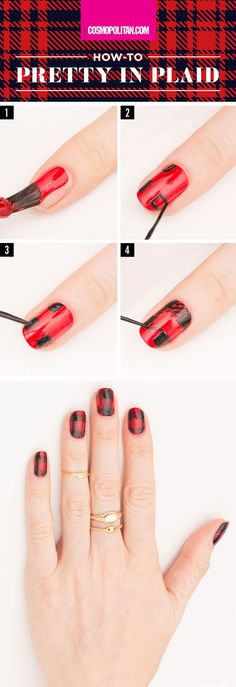 PRETTY IN PLAID HOLIDAY NAIL ART: DIY this festive holiday manicure with red and black polish, and this easy holiday nail art tutorial. Click through for the easy, step-by-step instructions. You'll also find 4 more fun holiday nail art ideas that you can pull off in minutes!