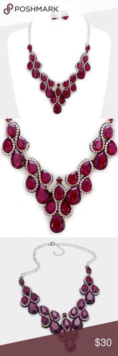 "Teardrop Statement Necklace + Earring Set [grandavenue: 318089]  • Color : Fuchsia, Rhodium  • Necklace Size : 20"" + 3"" L • Decor Size : 2.6"" L • Earrings Size : 0.9"" L • Felt back crystal rhinestone teardrop statement evening necklace Jewelry Necklaces"