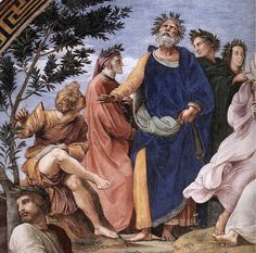 """Raphael: """"The Parnassus, detail of Homer, Dante and Virgil, in the Stanze della Segnatura"""",1511. (Vatican Museums and Galleries, Vatican City, Italy.)"""