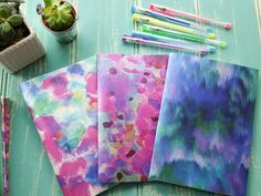 Watercolour hand bound handmade A5 notebook notepad journal