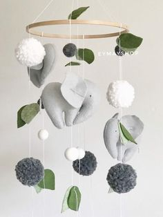 elephant items Pompon Elephant felt mobile is perfect decoration for a baby girl or boy nursery room. It will surely become a perfect design item in your kid's room. Our mobiles are ma Elephant Baby Rooms, Elephant Themed Nursery, Elephant Mobile, Baby Boy Rooms, Animal Nursery, Baby Boy Nurseries, Neutral Nurseries, Elephant Nursery Girl, Nursery Neutral