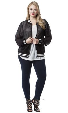 Mesh Bomber Jacket - Black and White