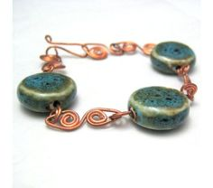 Turquoise Blue Ceramic and Copper Wire Wrapped Bracelet, $23.0