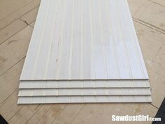 How to hide seams in Beadboard - Sawdust Girl® How To Install Beadboard, Beadboard Wainscoting, Wainscoating Ideas, Home Ceiling, Ceiling Ideas, Covering Popcorn Ceiling, Bead Board Walls, Sawdust Girl, Basement Remodeling