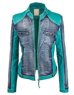 Come Together California CTC Womens The Ultimate Denim Faux Leather Jacket Vogue Fashion, Denim Fashion, Fashion Outfits, Cool Jackets, Jackets For Women, Clothes For Women, Denim Ideas, Tactical Clothing, Jeans Material