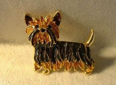 $11.95~~Such a cutie!!! New Enamel & Crystal Yorkshire Terrier Yorkie Pup Puppy DOG Doggie PIN Brooch