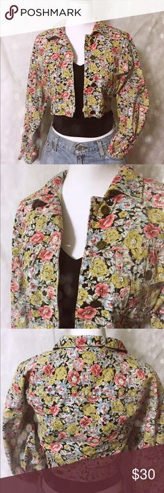 Vintage floral denim Gorgeous floral print denim jacket! This is a crop jacket. Not stiff! Very soft. Gorgeous yellows, blues, and pinks on a black backdrop. This would be the best fall staple item! Chest: 16 1/2 in. Length: 16 in. Arm: 19 3/4. Paris Blues Jackets & Coats Jean Jackets