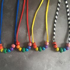 Stellen Rainbow Necklace : vintage abacus beads on tshirt yarn