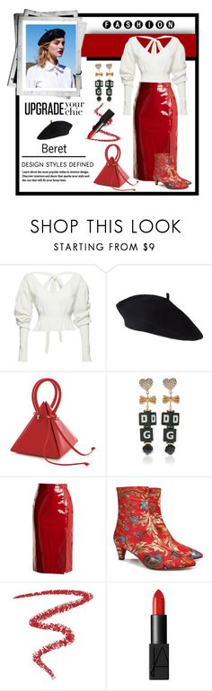 """""""How to Style a Beret"""" by affton ❤ liked on Polyvore featuring Magda Butrym, Dolce&Gabbana, Saloni, Beau Coops, By Terry, NARS Cosmetics, dolceandgabbana, patentleather and beret"""