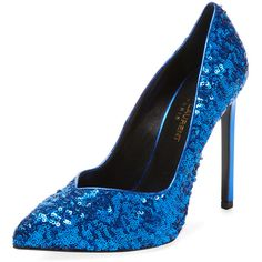 Saint Laurent Paris Women's Sequin Pointed-Toe Pump - Blue - Size 36 (£240) ❤ liked on Polyvore featuring shoes, pumps, blue, high heel shoes, blue high heel pumps, pointed toe high heel pumps, high heeled footwear and metallic pumps