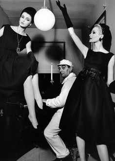Dorothea and Sara Thom both wearing Dior, Little Bara playing piano, photo by William Klein, 1960