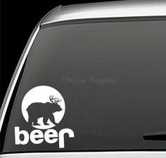 Jeep Deer plus Bear equals Beer Hunting Vinyl decal window sticker