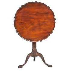 George III Mahogany Piecrust Tilt Top Table | From a unique collection of antique and modern dessert tables and tilt-top tables at https://www.1stdibs.com/furniture/tables/tilt-top-tables-dessert-tables/