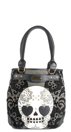 Scull n lace tot bag