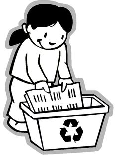 earth day coloring page girl recycling - Recycling Coloring Pages Kids