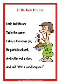 Little Jack Horner Rhymes Worksheets Nursery Preschool Activities Printables