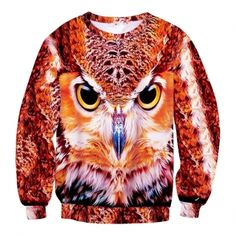 Orange owl 3D sweatshirt for men autumn pullover sweatshirt