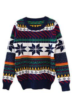 ROMWE | ROMWE Snows Print Colorful Stripe Jumper, The Latest Street Fashion  #romwe #uglychristmassweater