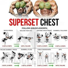 Want a BIGGER Chest? Try this workout. This superset combines another form of supersetting for back and chest to help you increase the fat-burning effect of the workout. WHAT'S A SUPERSET A Superset is when you do two exercises back to back with no res Gym Workout Tips, Weight Training Workouts, Fitness Workouts, At Home Workouts, Fitness Tips, Super Set Workouts, Week Workout, Biceps Workout, Men's Fitness