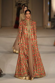 This gold floor length embroidered jacket and flowy anarkali is a must have this summer #LFW #LIFW2016 #summerfashion #RohitBal #Frugal2Fab