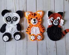 The Animals of Asia applique crochet pattern only