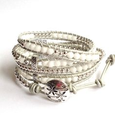 Silver and Leather Wrap Bracelet | White and Silver Leather Wrap Bracelet by LunaArtdesigns on Etsy