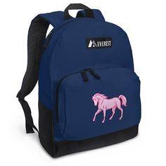 Pink Horse Backpack Navy Blue Horses Travel or Sc ($24.99)