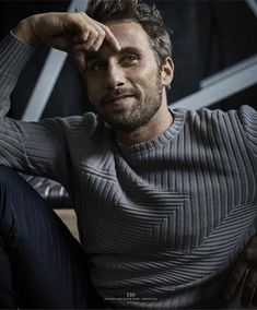 Matthias Schoenaerts poses for the pages of Esquire Big Black Book, wearing a grey ribbed sweater. Matthias Schoenaerts, Travis Fimmel, Auguste Rodin, Claude Monet, Beautiful Boys, Gorgeous Men, Beautiful People, The Fashionisto, Black Books