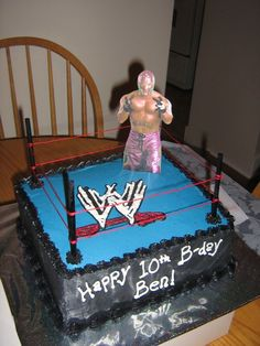 A wrestling ring cake for a little boys birthday.