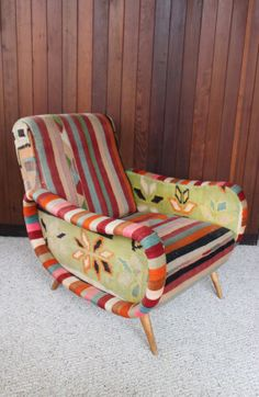 Kilim Covered Mid Century Modern Armchair By Athomemodern On Etsy, $1095.00
