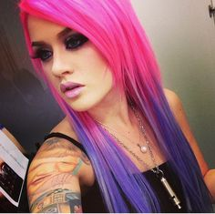 One of Kelly Edens hair looks I love! Shes stated she dyes the top half of her hair(pink) and the bottom is extensions because of how damaging it is.