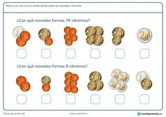 Ficha de monedas correctas para Primaria Money Activities, Learning Activities, School Resources, Spanish Language, Learning Spanish, Special Education, Maths, Diners, Ideas Para