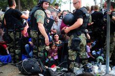 Police block the way  Macedonian-Greek border Aug. 21, 2015.