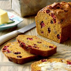 """Cranberry Pumpkin Bread Recipe -Put leftover cranberries and pumpkin to great use in this moist quick bread. It's very good with my """"secondhand turkey"""" casserole for an after-Thanksgiving meal. Pumpkin Cranberry Bread, Baked Pumpkin, Pumpkin Bread, Pumpkin Recipes, Pumpkin Spice, Pumpkin Foods, Spiced Pumpkin, Apple Bread, Pumpkin Dessert"""