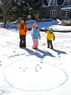 Frosty Toss - Have a snowball-throwing contest! Make a target by creating a bright circle in the snow with colored water in a squirt bottle.