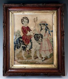 Antique Victorian Era Needlepoint, Framed, Children and their Large Dog, Newfoundland, Perhaps?  Charming!
