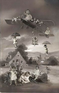 [Babies Floating in Bucolic Landscape] Collage of gelatin silver prints on painted board, 1910s (via The Metropolitan Museum of Art)